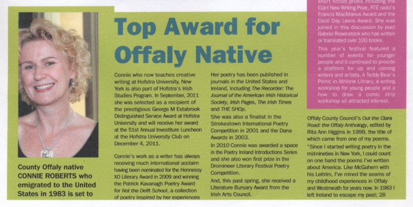 Midlands Arts and Culture Magazine Top Award for Offaly Native Poet Connie Roberts